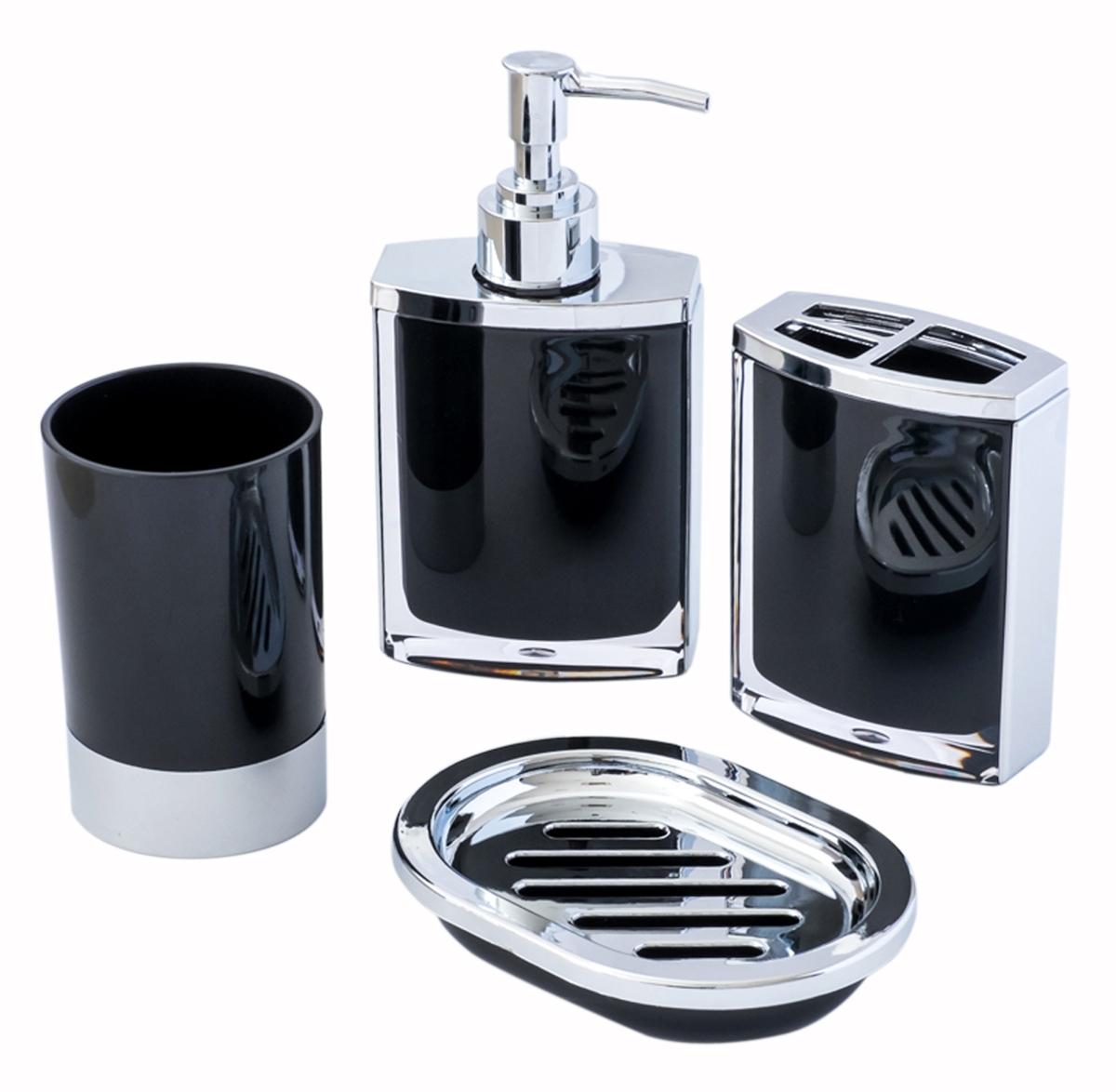 4-Piece Vogue Black and Chrome Bathroom & Shower Accessory Set; with Lotion/Soap Dispenser, Bath Cup/Tumbler, Soap Dish, Toothbrush Holder Match for Marble or Glass Modern Bath Style