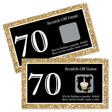 Adult 70th Birthday - Gold - Birthday Party Game Scratch Off Cards - 22 Count (Adult Birthday Party Supplies)