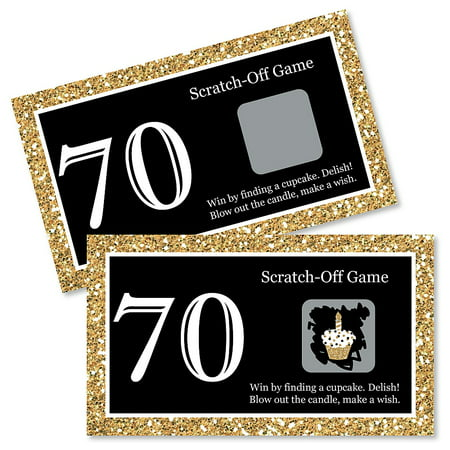 Indoor Birthday Party Games (Adult 70th Birthday - Gold - Birthday Party Game Scratch Off Cards - 22)
