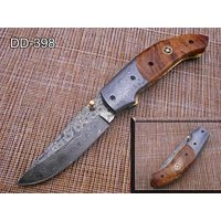 "7.5"" Folding Knife, 3.5"" Hand Forged Twist Pattern Damascus Steel Blade Pocket Knife, 4"" Wood Scale, Liner Lock & Thumb knob Equipped, Cow Hide Leather Sheath (Wood)"