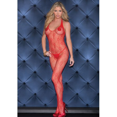 b5dae83468c iCollection - Lace Halter Bodystocking With Open Crotch - Walmart.com