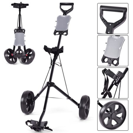 Costway Folding 2 Wheel Push Pull Golf Club Cart Trolley Swivel w/Scoreboard