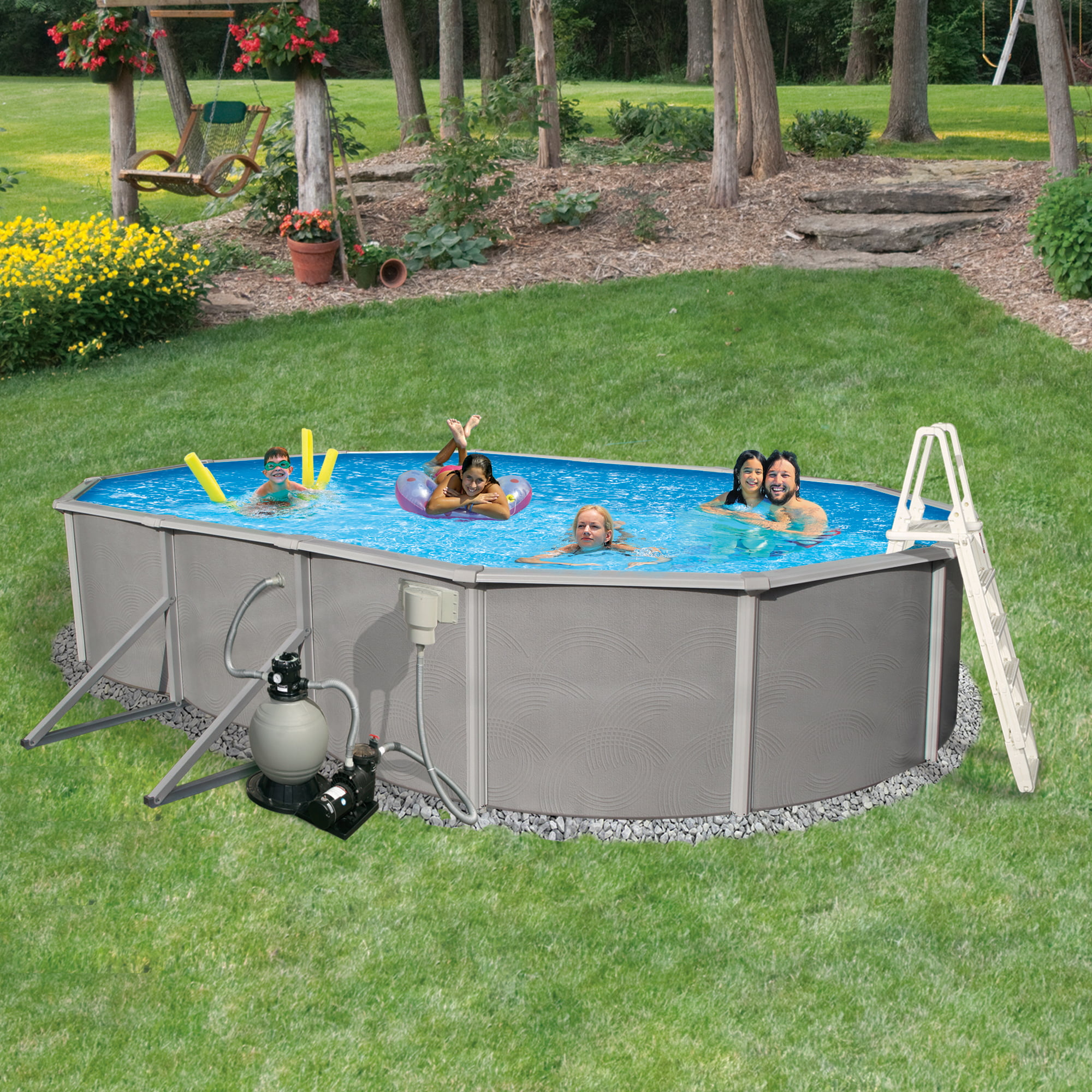 Blue Wave Belize 18-ft x 33-ft Oval 52-in Deep 6-in Top Rail Metal Wall Swimming Pool Package by Blue Wave