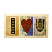 Language Art Wood ''I Heart U''  Letter Block