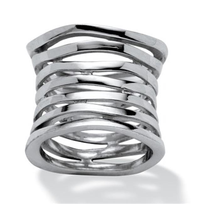 PalmBeach Jewelry 469966 Sterling Silver Tailored Multi-Tier Band Size 6