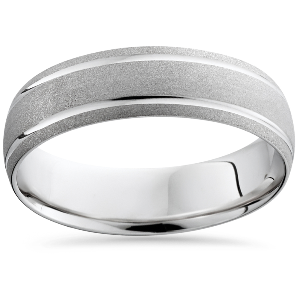 Mens 950 Platinum Brushed Comfort Fit Wedding Ring Band by Pompeii3