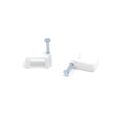 THE CIMPLE CO - Dual, Twin, or Siamese Coaxial Cable Clips, Cat6, Electrical Wire Cable Clip, 1/2 in Nail Clip and Fastener, White (50 pieces per