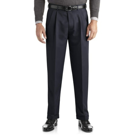Best Dress Pants (Men's Pleated Cuffed Microfiber Dress Pant With Adjustable Waistband )