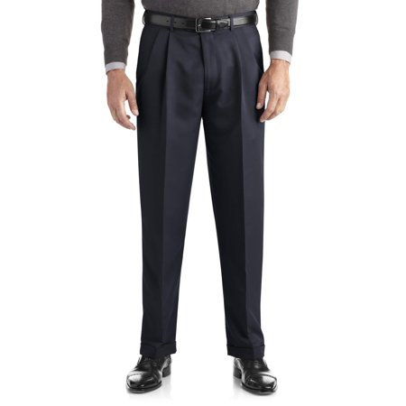 One Trouser Suit (Men's Pleated Cuffed Microfiber Dress Pant With Adjustable)