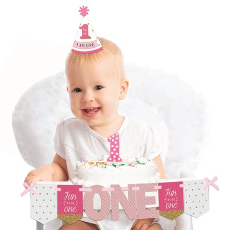 1st Birthday Girl - Fun to be One 1st Birthday - First Birthday Girl Smash Cake Decorating Kit - High Chair - Smash Cake Size