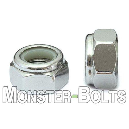 Nut Insert - (10) M6-1.0 Metric Nylon Insert Hex Lock Nut DIN 985 - A2 / 18-8 Stainless Steel - MonsterBolts (10, M6-1.0)