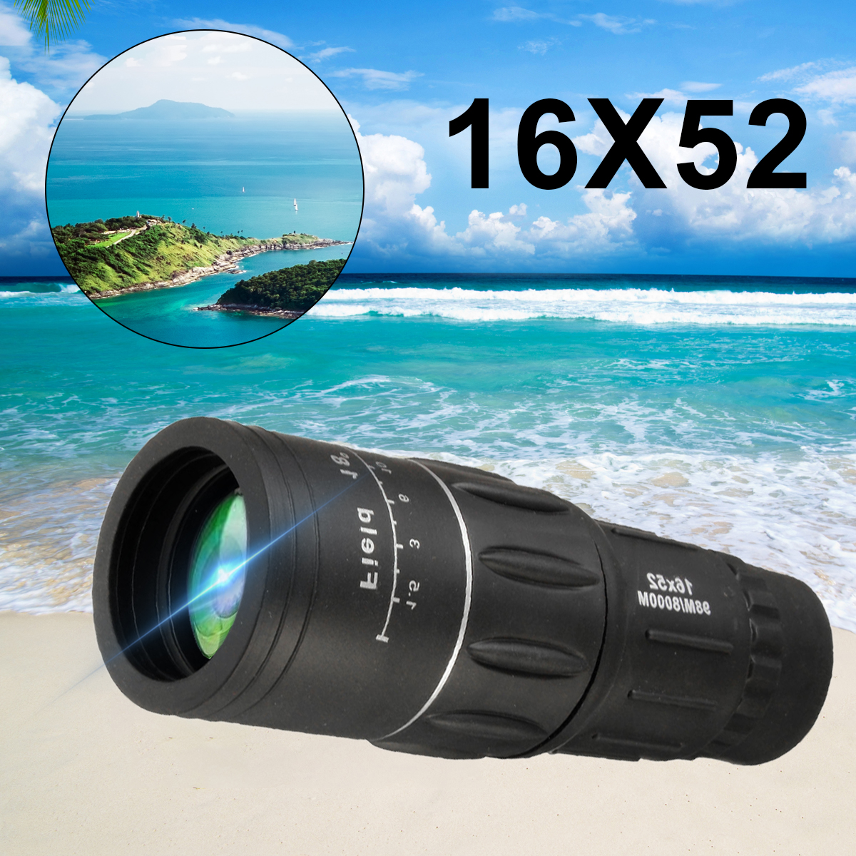 16x52 HD Portable Handheld Monocular Telescope Day Night Vision Dual Focus Optical Zoom Waterproof For Hiking Camping Hunting Sightseeing Valentine's Gifts