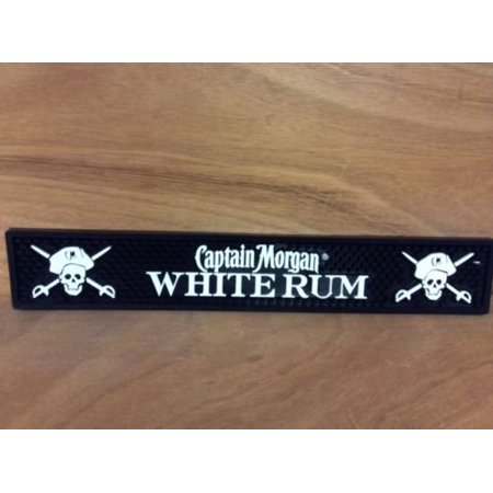 White Rum Rail Runner Bar Mat -Pirate Logo, 1 Professional Grade Captain Morgan White Rum Bar Mat By Captain (Captain Morgan Rum Best Price)