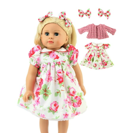 """Floral Print Dress With Sweater & Hair Bows  -Fits 18"""" American Girl Dolls, Madame Alexander, Our Generation, etc. 