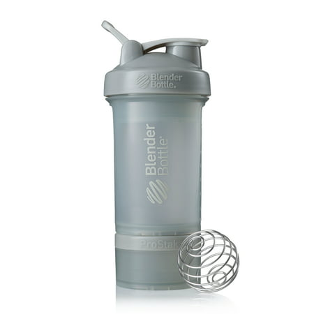 BlenderBottle 22oz ProStak Shaker Bottle with 2 Jars, a Wire Whisk BlenderBall and Carrying Loop FC Pebble Gray (Thrive Blender Bottle)