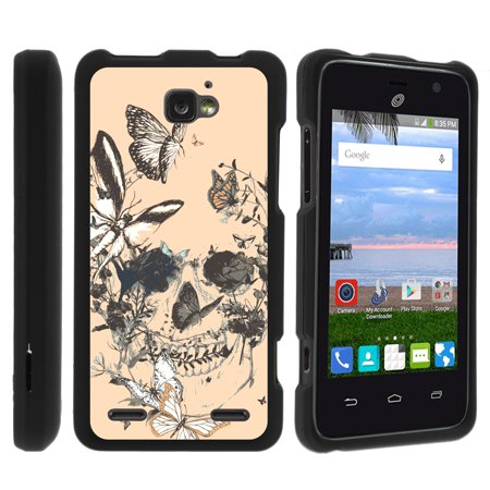 ZTE Paragon Z753G, ZTE Zephyr Z752C, ZTE Sonata 2, [SNAP SHELL][Matte Black] 2 Piece Snap On Rubberized Hard Plastic Cell Phone Case with Exclusive Art - Butterfly (Time Skull Snap)