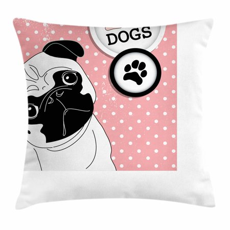 Pug Throw Pillow Cushion Cover I Love Dogs With A Paw Print Emblem