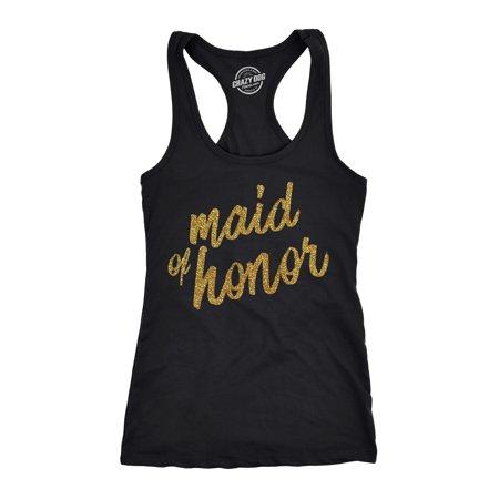 Womens Tank Maid Of Honor Tanktop Cute Wedding Day Bachelorette Party Tee Gold Glitter Print - Bachelorette Tank Tops