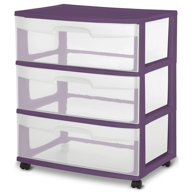 Sterilite, Wide 3 Drawer Cart, Moda Purple