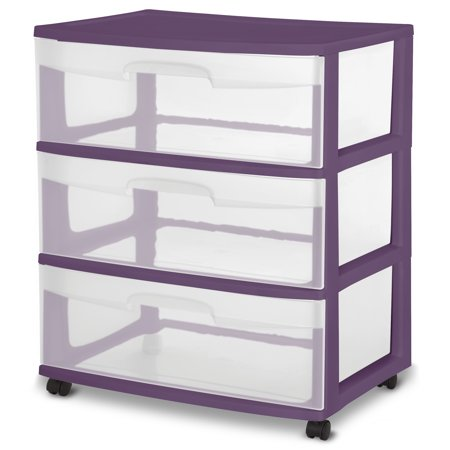 Sterilite, Wide 3 Drawer Cart, Moda Purple
