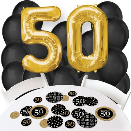50th Balloons (Adult 50th Birthday - Gold - Confetti and Balloon Birthday Party Decorations - Combo)
