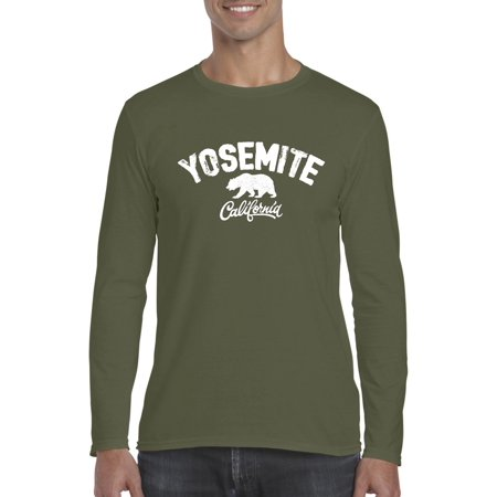 e8c7d9b8 Yosemite Park T-Shirt Home of Giant Sequoia Trees and California Bear  Camping Hiking Fishing Haven in Yosemite Valley National Park Mens Long  Sleeve Shirts