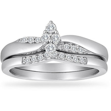 Image of Always & Forever Platinaire 1/4 Carat T.W. Diamond Marquee-Shaped Bridal Set