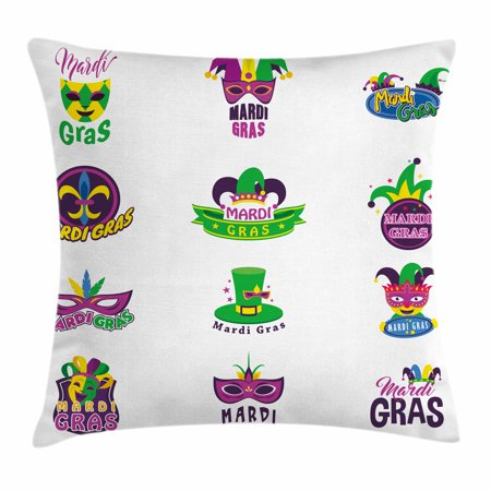 Mardi Gras Throw Pillow Cushion Cover, Set of Carnival Masks Hats and Fleur De Lis Symbols Colorful Joyous Collection, Decorative Square Accent Pillow Case, 24 X 24 Inches, Multicolor, by Ambesonne - Mardi Gras Hats