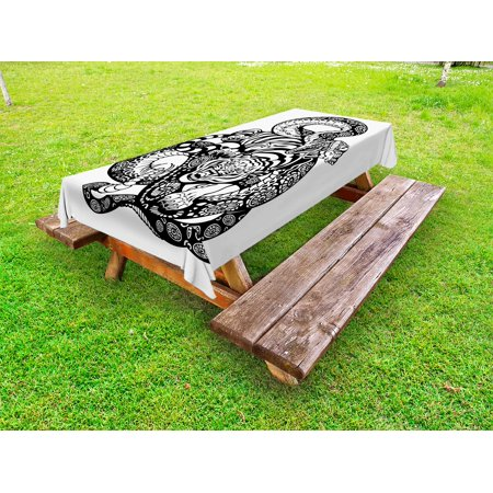 Animals With Tattoos (Tiger Outdoor Tablecloth, Tattoo Style Scene of Two Animals Struggling Long Snake with Sublime Large Cat, Decorative Washable Fabric Picnic Tablecloth, 58 X 104 Inches, Black and White, by)