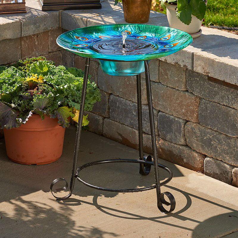 Argus Peacock Glass Solar Birdbath Fountain by Smart Solar