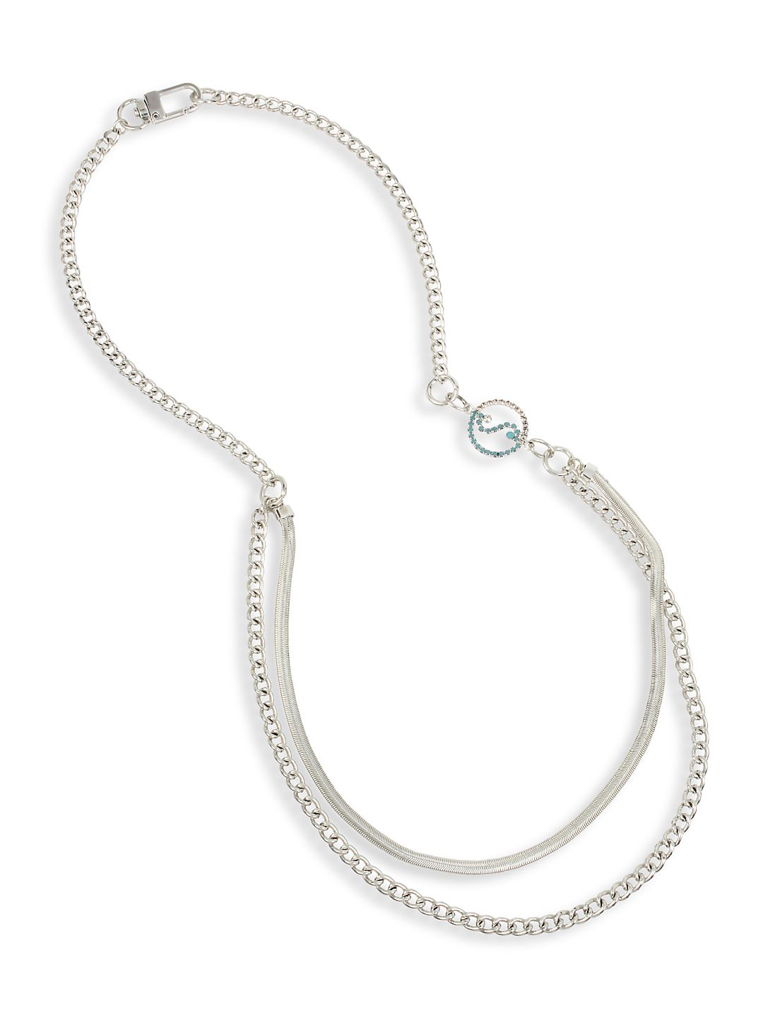 Stonewashed Bow Mixed Chain Long Layered Necklace