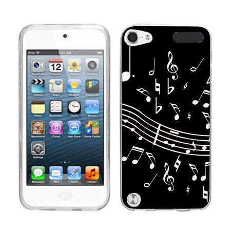 - One Tough Shield ® Slim-Fit TPU Case for Apple iPod Touch 5 5th / 6 6th Generation - Music Notes / Black