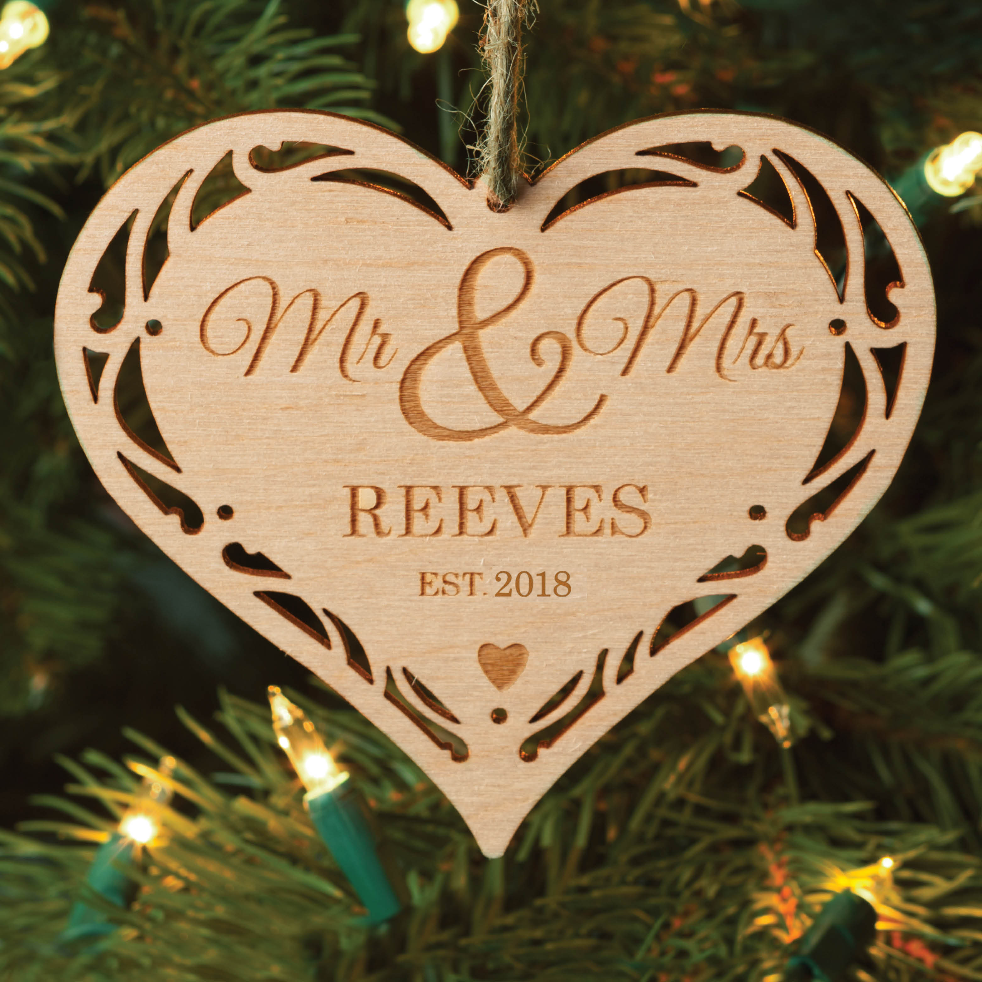 Mr. And Mrs. Personalized Wood Christmas Ornament
