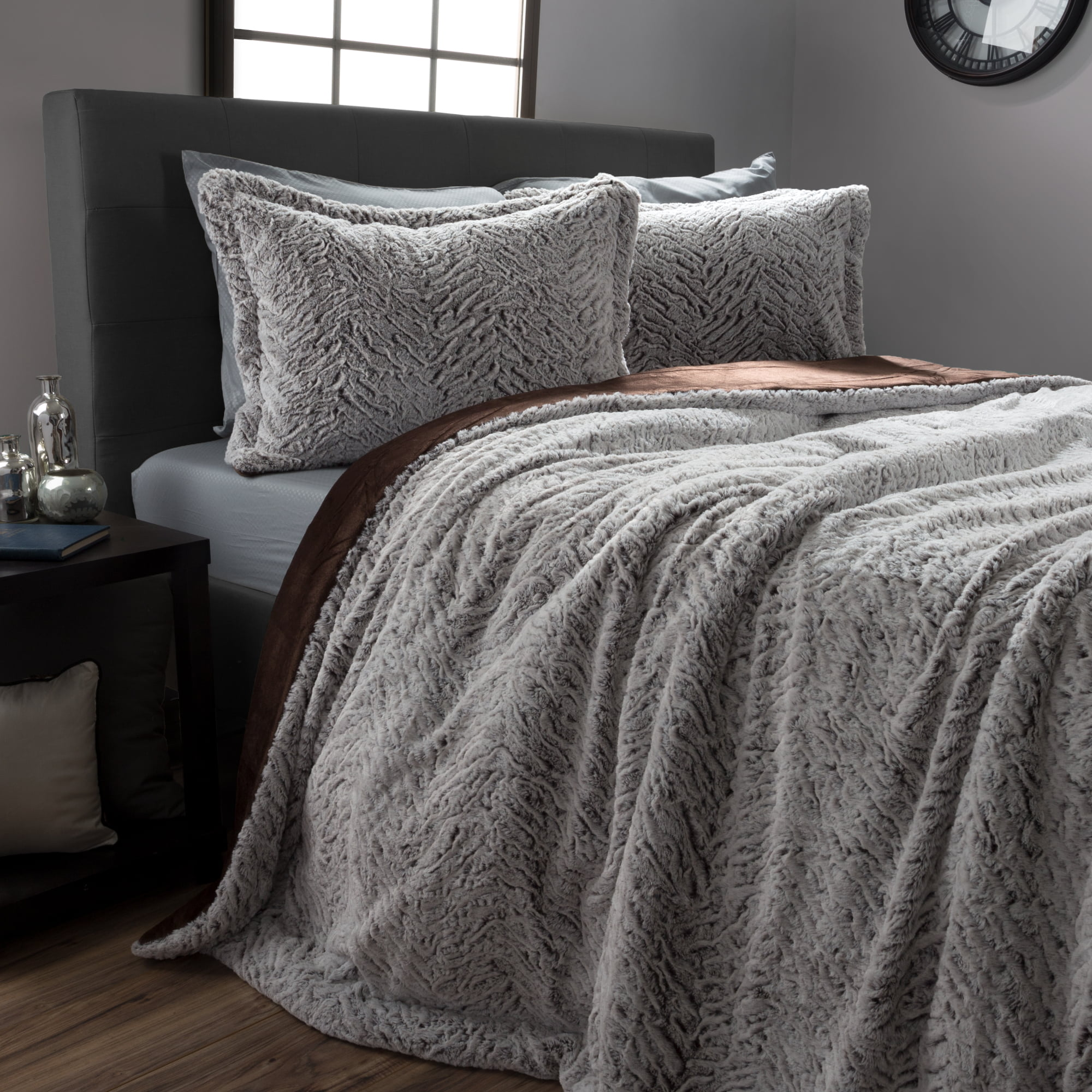 Faux Fur Comforter Set, 3 Piece King Comforter and Sham Set With