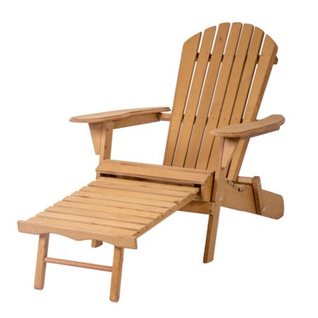 - Outdoor Wood Adirondack Chair Foldable w/ Pull Out Ottoman Patio Furniture 240