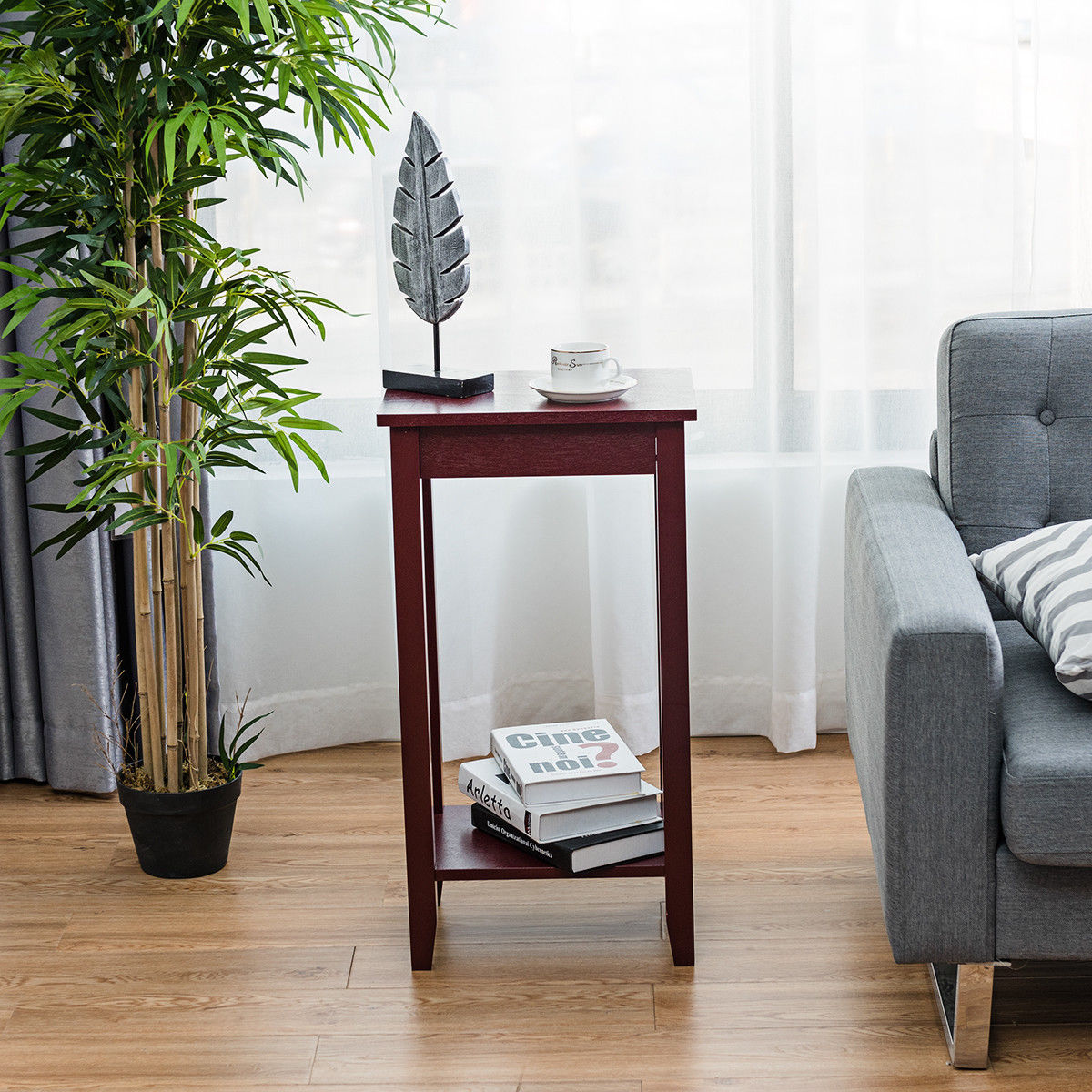 Costway Tall End Table Coffee Stand Night Side Nightstand Accent Furniture