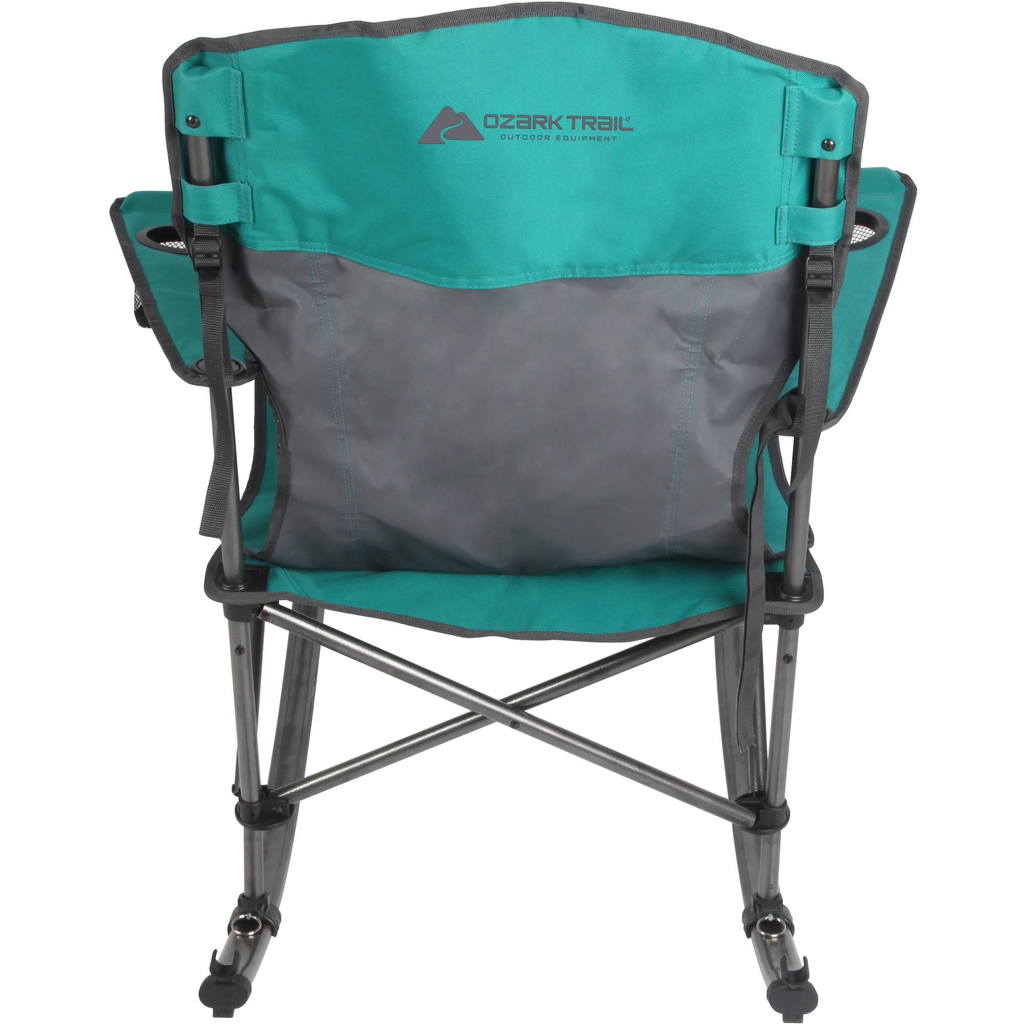 Ozark Trail Quad Fold Rocking Camp Chair With Cup Holders, Green    Walmart.com