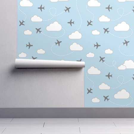 Removable Water-Activated Wallpaper Blue And Gray Blue And Gray Airplanes