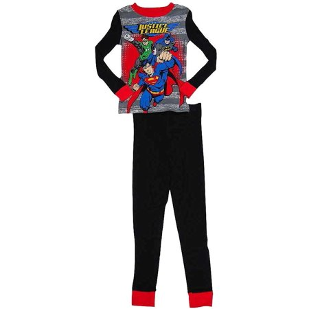 Justice League - Little Boys Long Sleeve Pajamas Black Grey / 4
