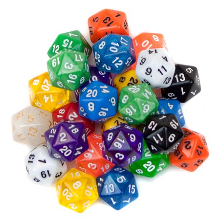 Bry Belly GDIC-1207 25 Pack of Random D20 Polyhedral Dice in Multiple Colors
