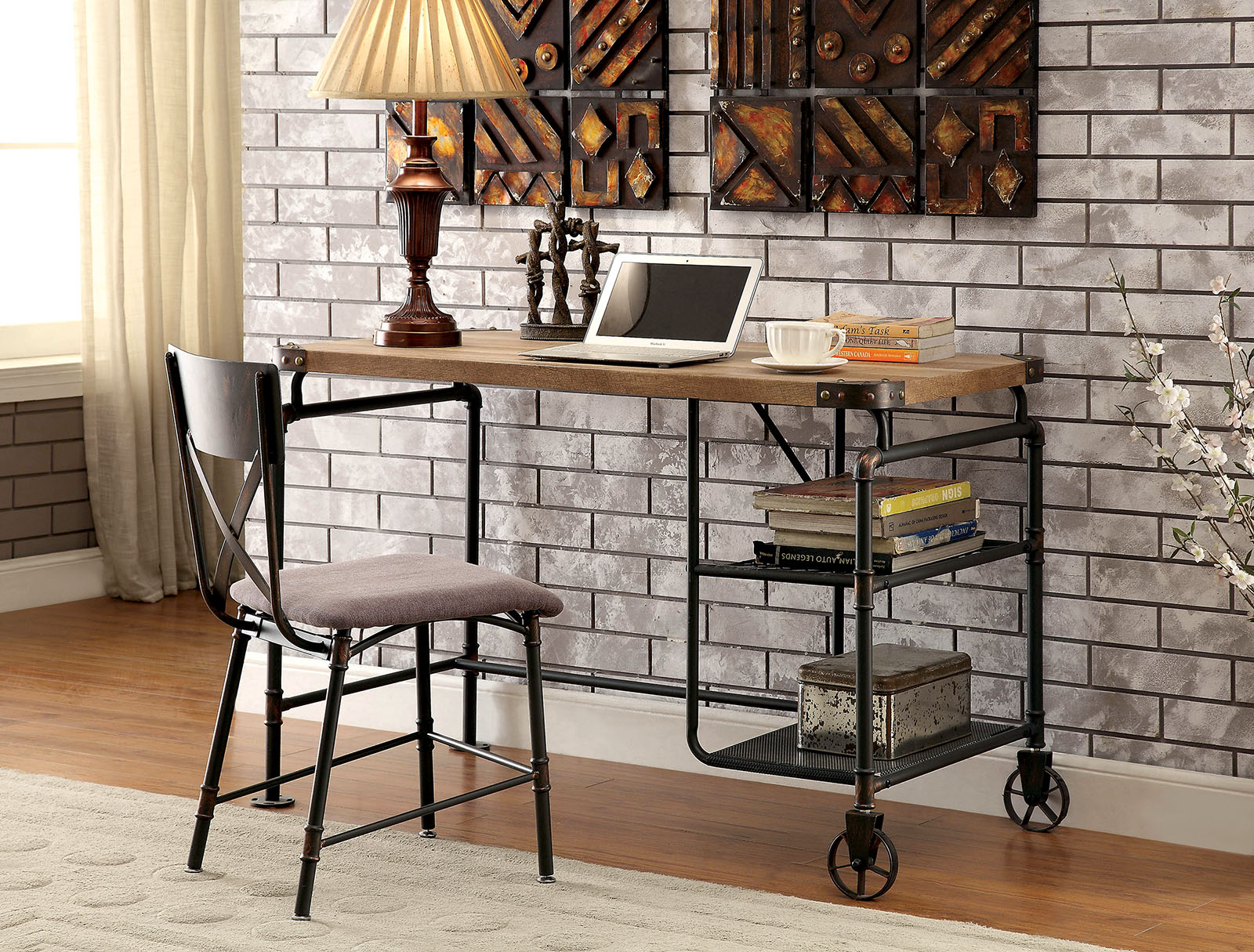 Furniture Of America Olga I Antique Black Industrial Style Writing Desk  Wood Top