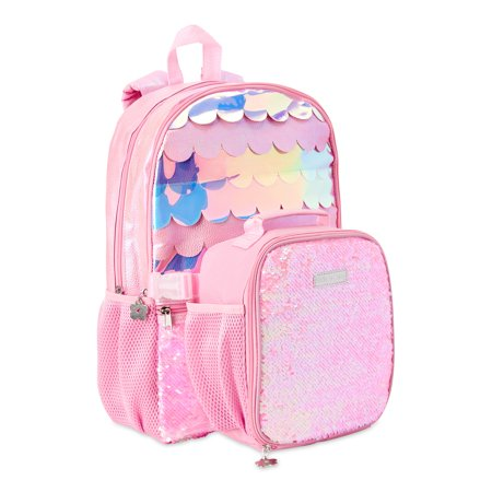 Limited Too Mermaid Scale Backpack with Lunch Bag, Pink