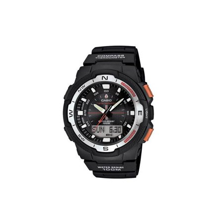 Temp Compass Mens Watch - Casio Men's Twin Sensor Watch With Thermometer and Compass, Black Resin Strap