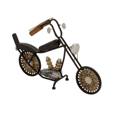 Decmode Eclectic 11 x 16 inch iron motorcycle sculpture, Black
