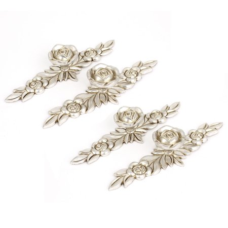 Unique Bargains Antique Silver Rose Flower Door Knobs Dresser Cabinet Pull Handles 145mm 4pcs