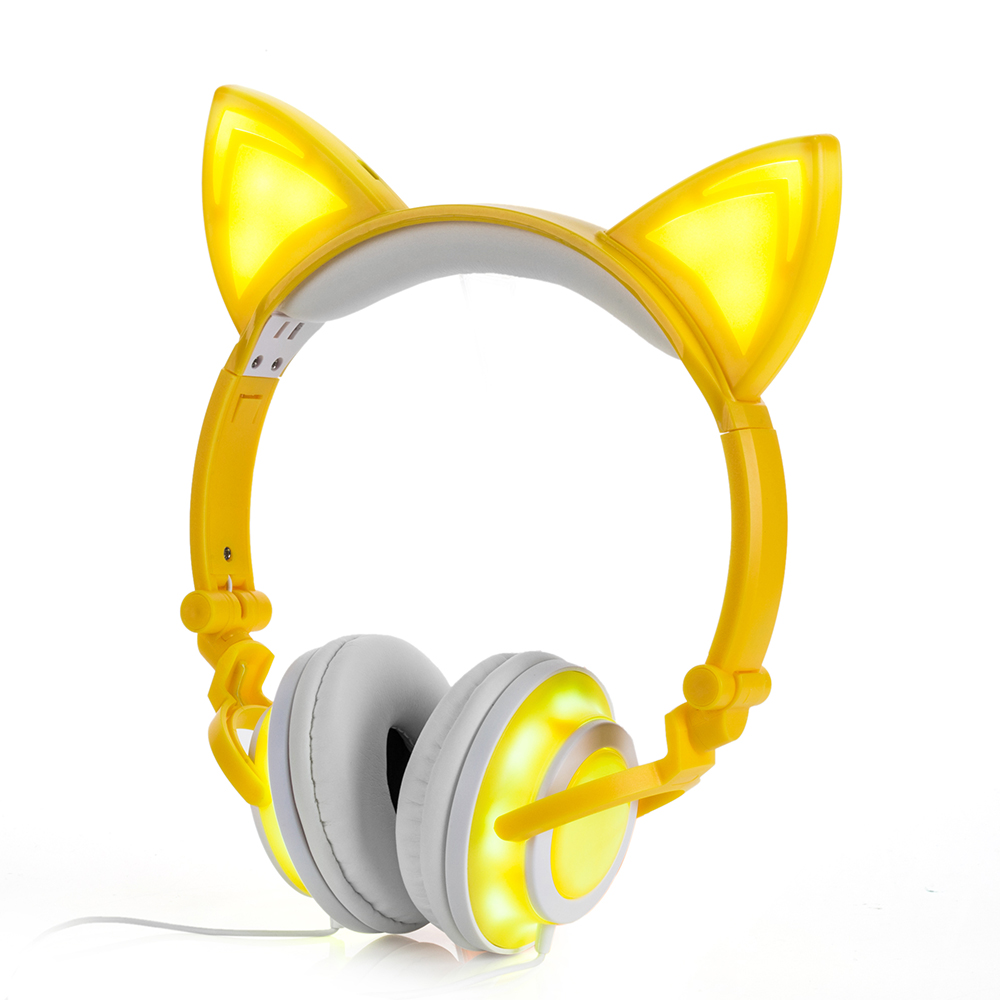 Jamsonic LED Full Light Up Foldable Cat Ear Headphones use for Phones, PC, MP3, MP4, Kids, Children, Boys, Girls