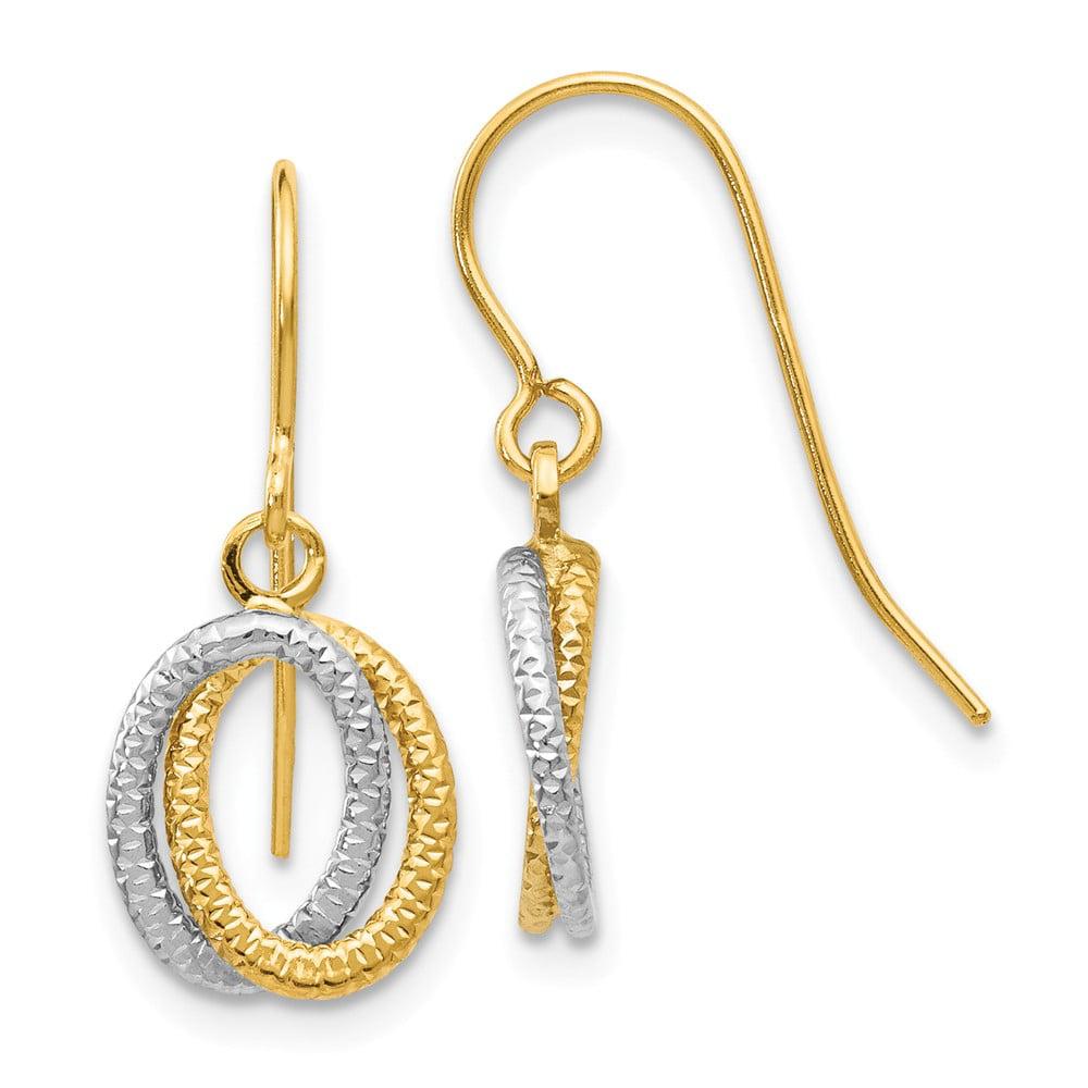 14k Two Tone Gold Fancy Dangle Shepherd Hook Earrings (0.8IN x 0.3IN )