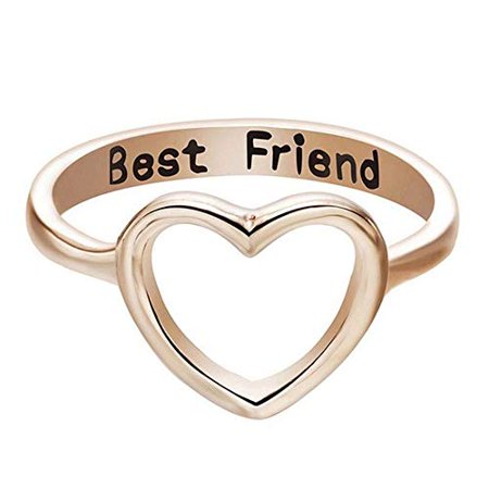 Women Love Heart Best Friend Ring Promise Jewelry Friendship Rings Girl Gift Hot (Rose