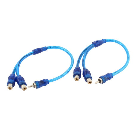 Unique Bargains RCA 2 Female to 1 Male Splitter Stereo Audio Y Adapter Wire Connector 2 Pcs 2 Rca Male Connectors