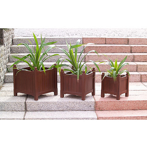 FSC Wood Flower Box Planters, Set of 3